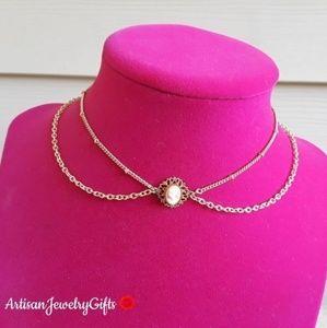 16K Gold Layered Victorian Lady Choker Necklace